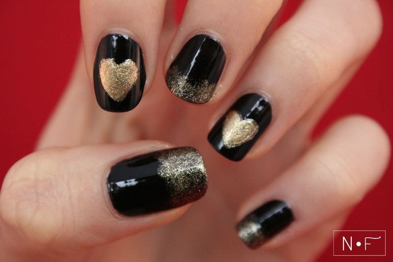 A heart of gold nail art by NerdyFleurty