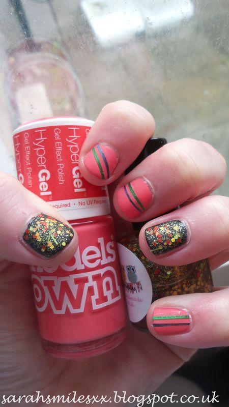 Neon Glitter nail art by Sarah Clarke