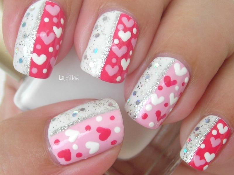 Sparkley Hearts nail art by Iliana S.