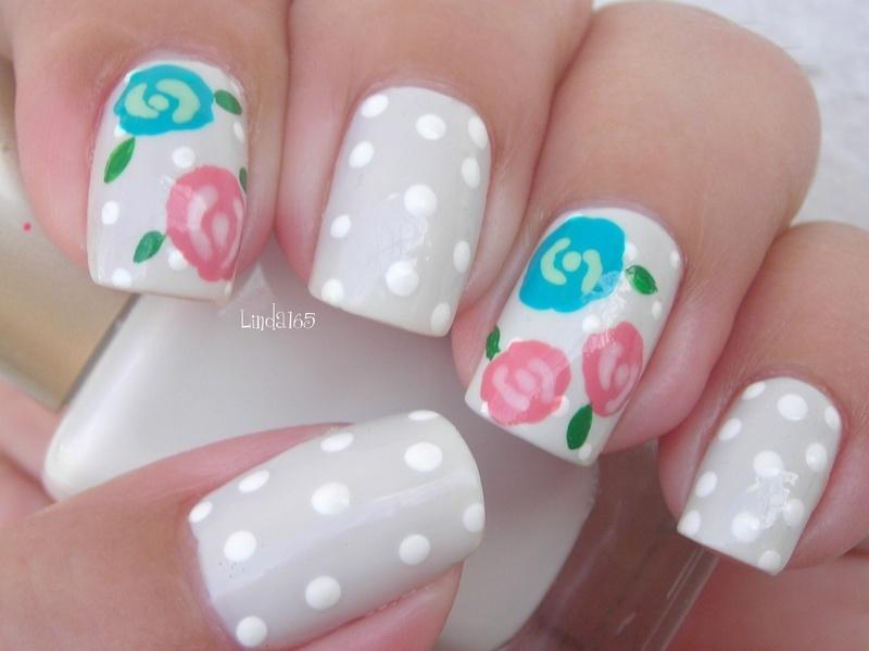 Winter Rose nail art by Iliana S.