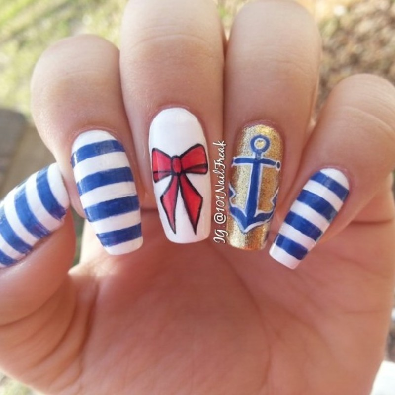 Nautical Nails nail art by Selena  Lopez