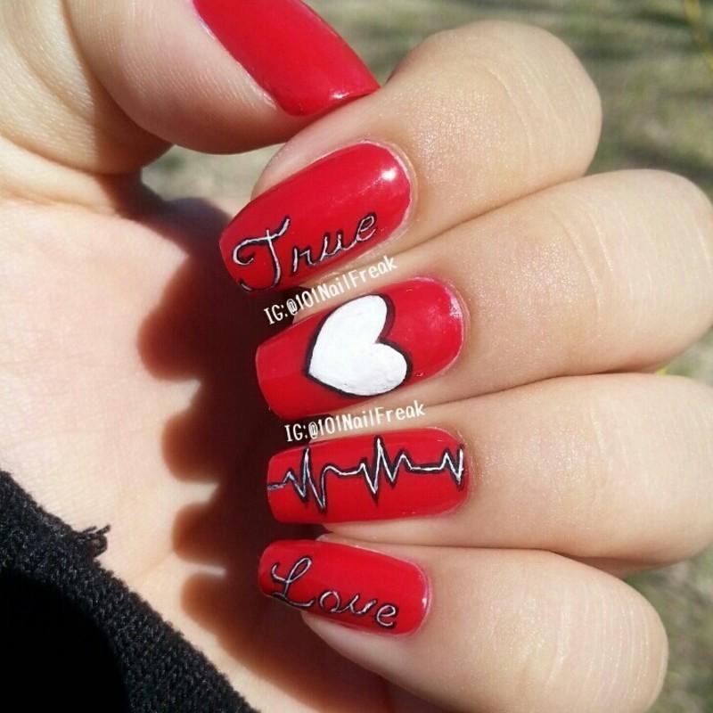 True Love nail art by Selena  Lopez