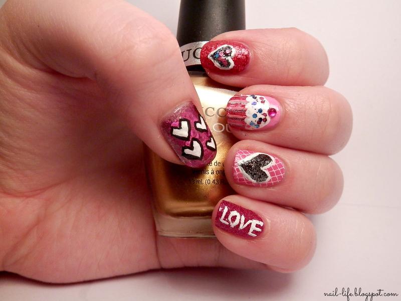 Valentine's hearts nail art by Enni