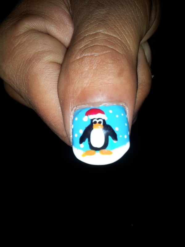 christmas penguin nail art by Laura