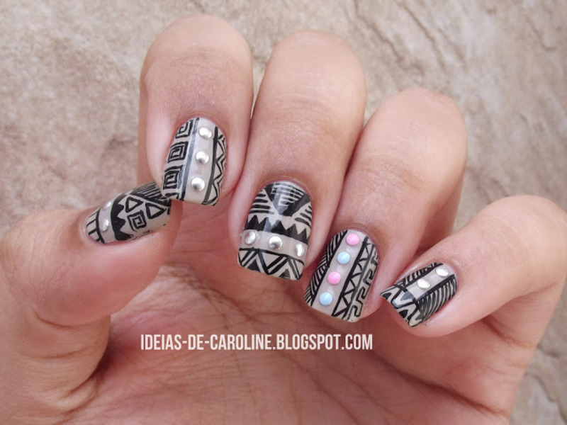 (Another) Tribal Print nail art by Caroline Lopes