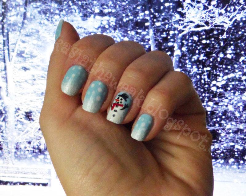 Winter manicure - snowman nail art by Kasia
