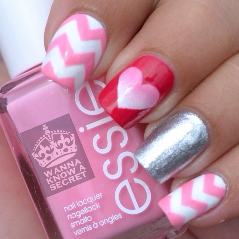 'Chevron cut out ombré heart' nails nail art by Julie Awouters