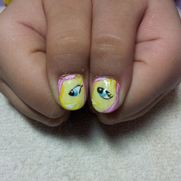 fluttershy nails nail art by Laura
