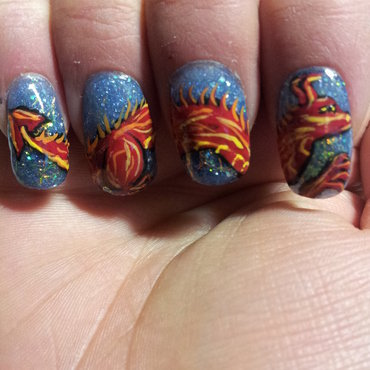 fire dragon nail art by Laura