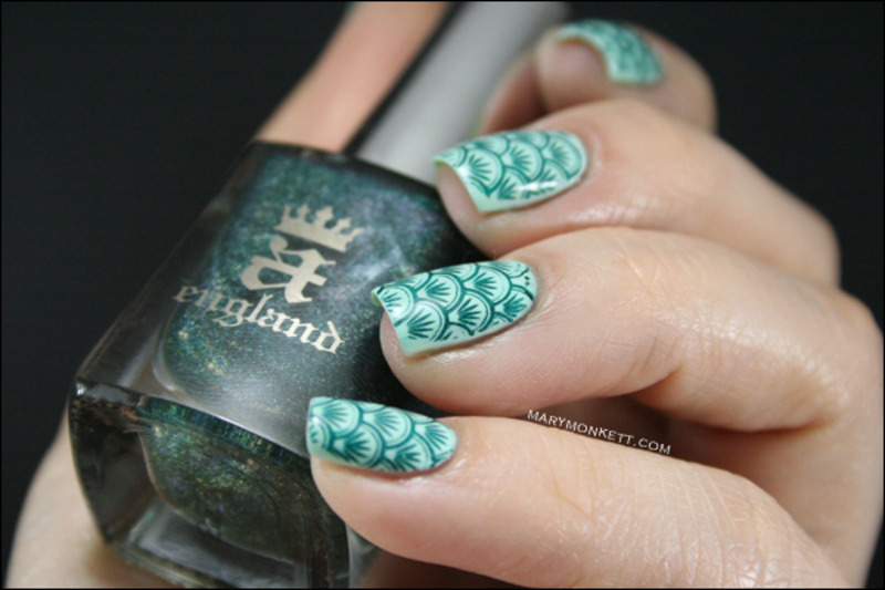 Full stamping nail art by Mary Monkett
