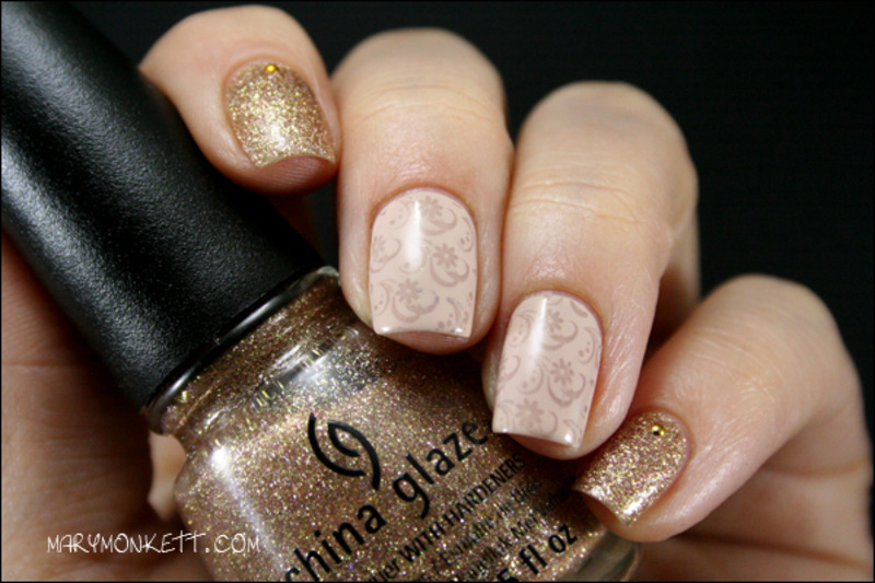 Champagne Kisses nail art by Mary Monkett