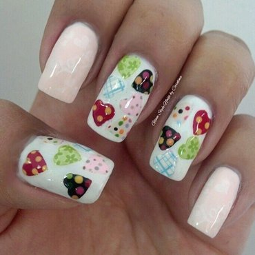 Valentine's hearts pattern mix nail art by Glam Style Nails by Carolina