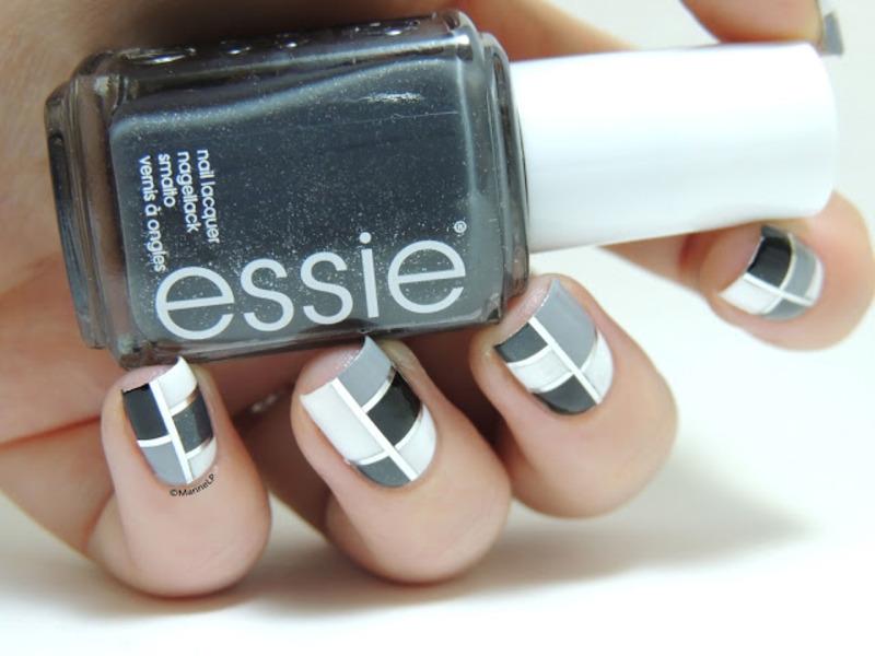 Black and white Mondrian nail art by Marine Loves Polish
