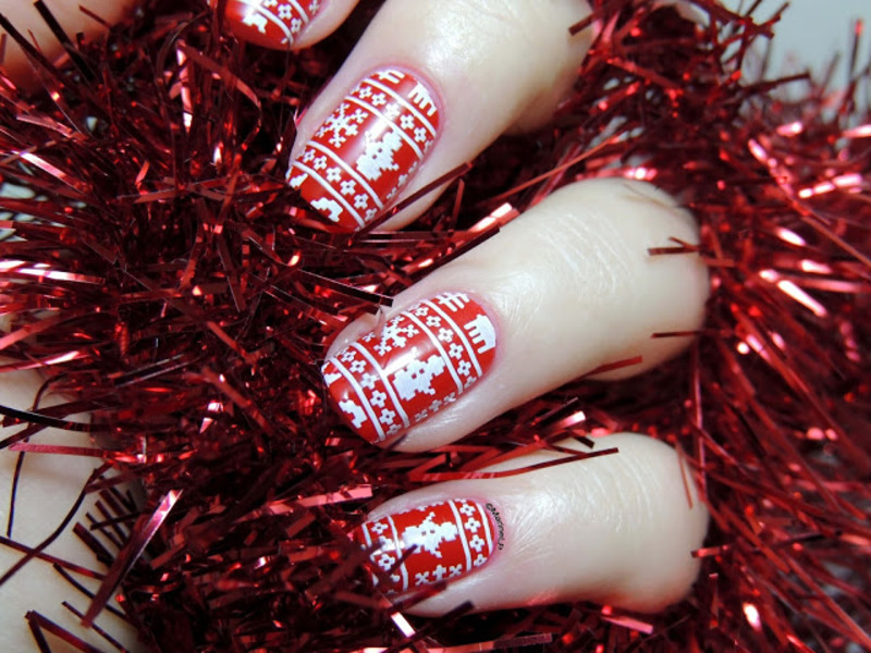 Christmas sweater nails nail art by Marine Loves Polish