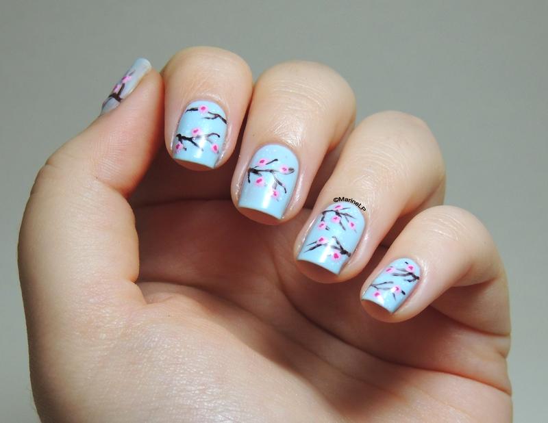 Cherry blossom nails nail art by Marine Loves Polish