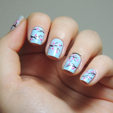 Cherry blossom nails nail art by Marine Loves Polish