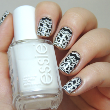 Black and white aztec nails nail art by Marine Loves Polish