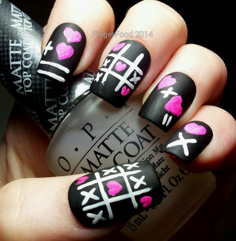Hearts and Crosses nail art by Sam