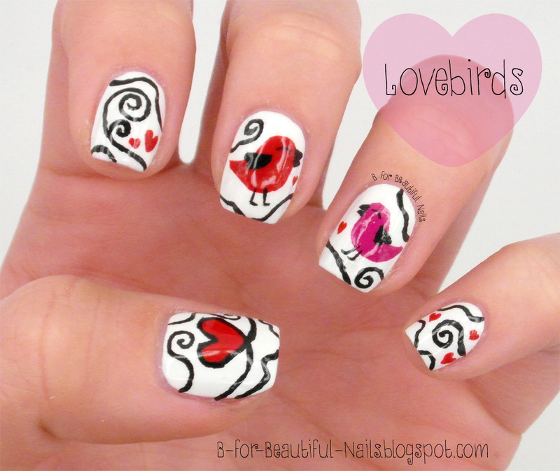 Lovebirds Nail Art ♥ nail art by B.