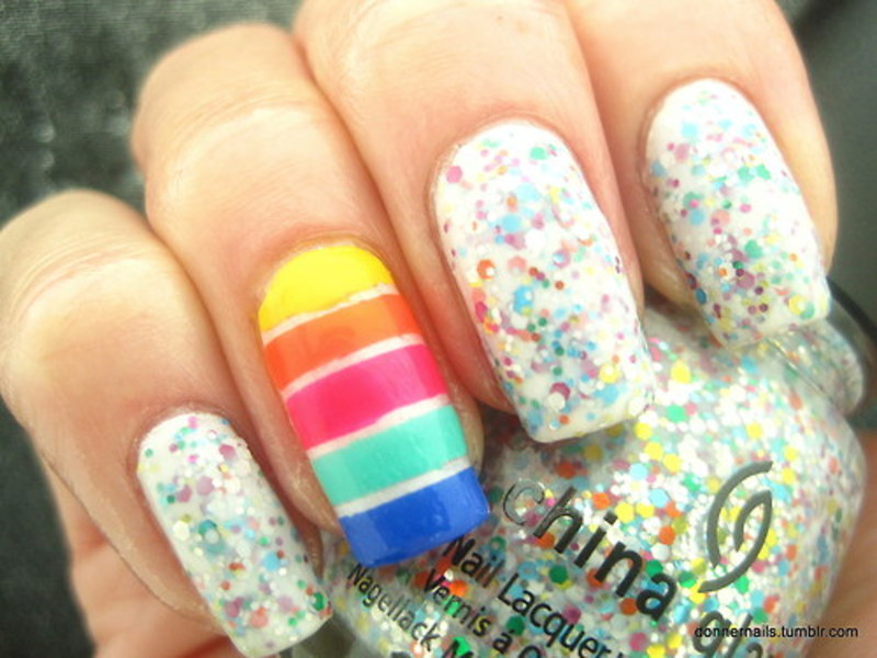 Rainbow nails nail art by Donner