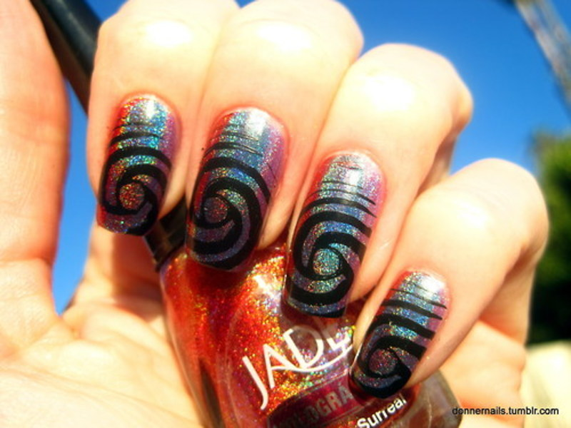 Holographic stamping nail art by Donner