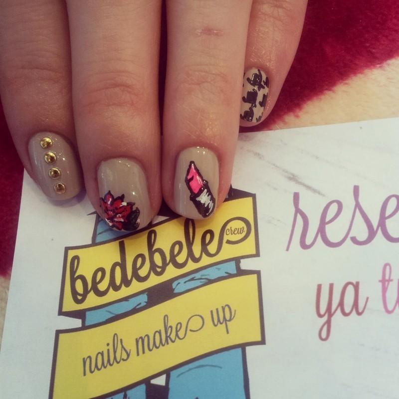 Mix Lip Stick Nailsmakeup nail art by Be de Bele Crew