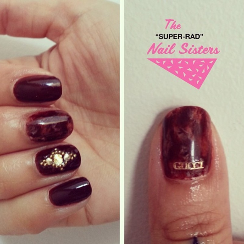 70s Tortoise Shell nail art by The Super Rad Nail Sisters