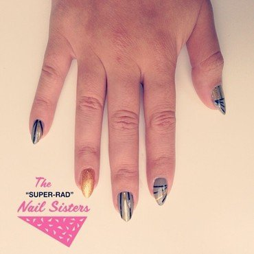 Neutrals with gold accents nail art by The Super Rad Nail Sisters