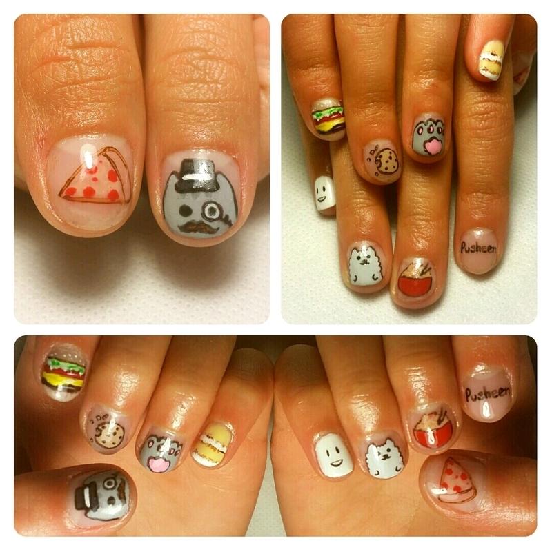 Fancy Pusheen nail art by NOMA