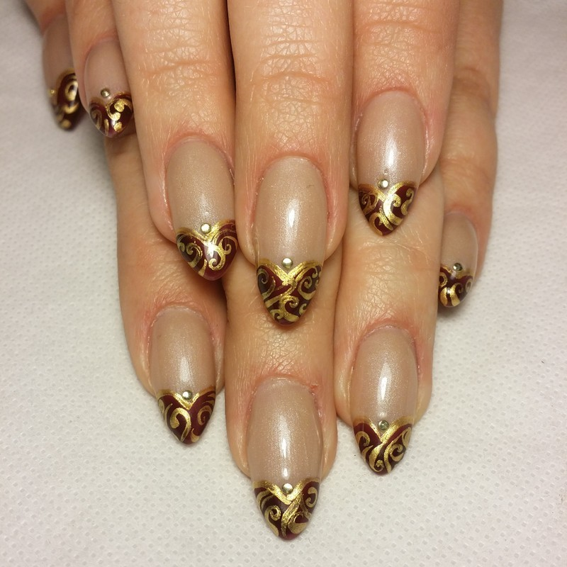 Gilded Hearts nail art by NOMA