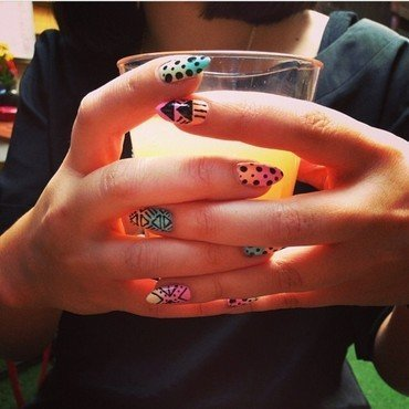 Black on Pastel Ombre nail art by The Super Rad Nail Sisters