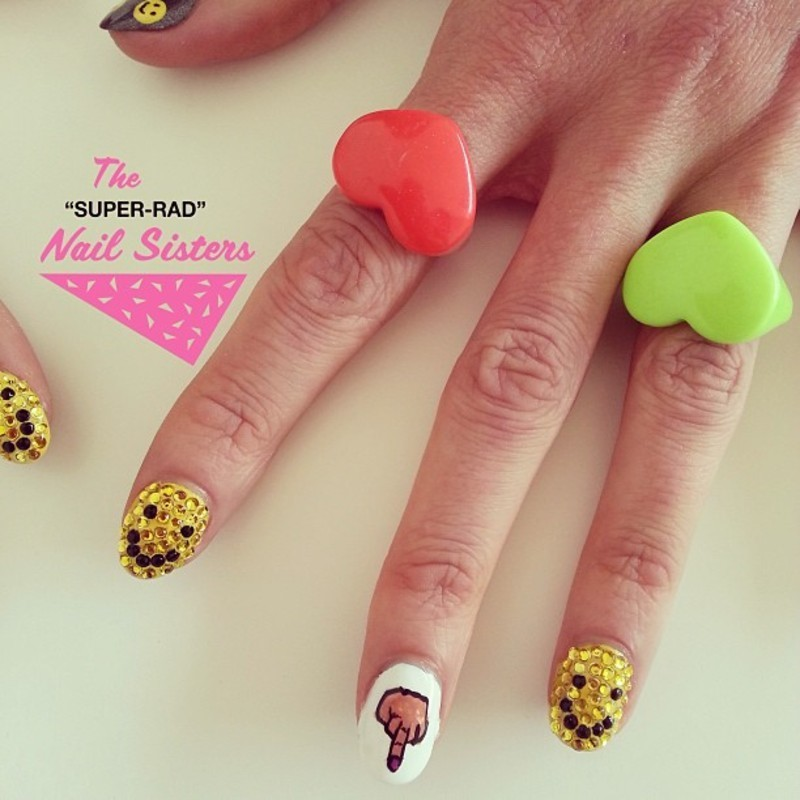 Blinged Out Smilies nail art by The Super Rad Nail Sisters