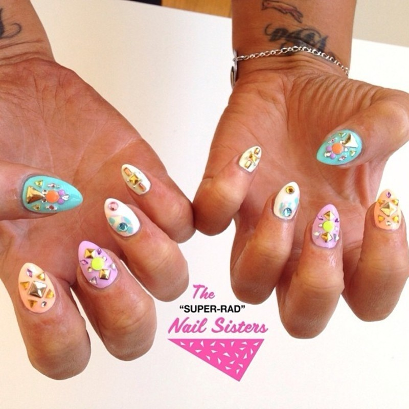 Pastel Bling nail art by The Super Rad Nail Sisters
