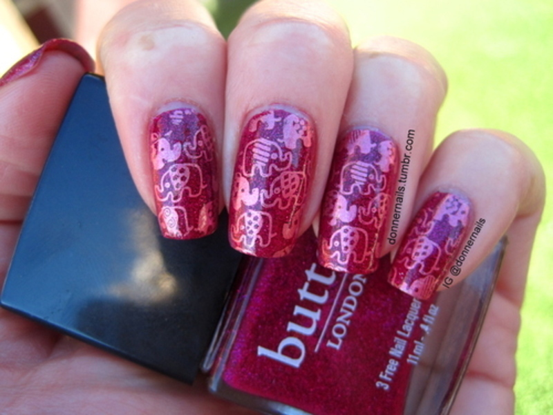 Pink elephants nail art by Donner