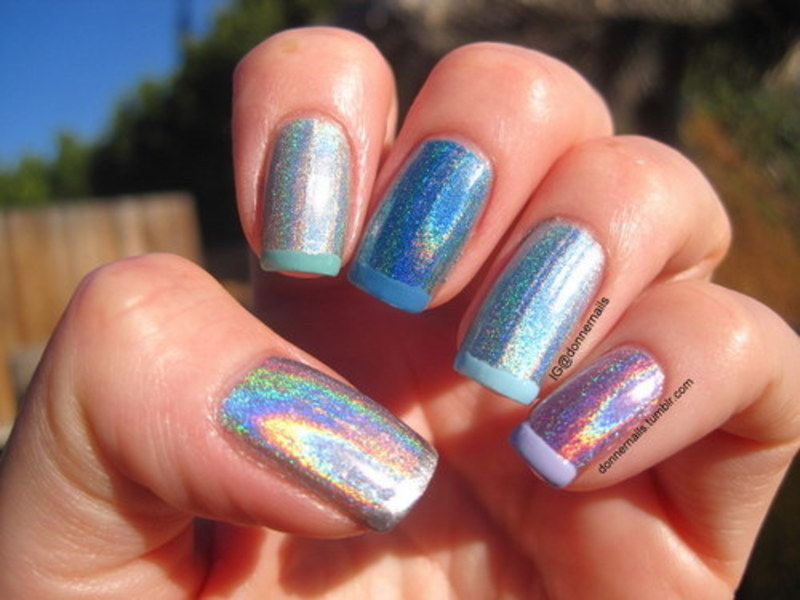 Funky french nail art by Donner