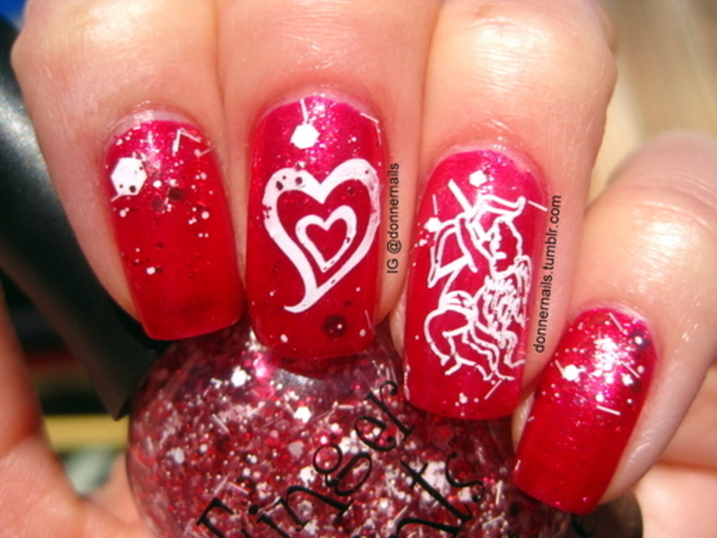 Valentine's nail art by Donner