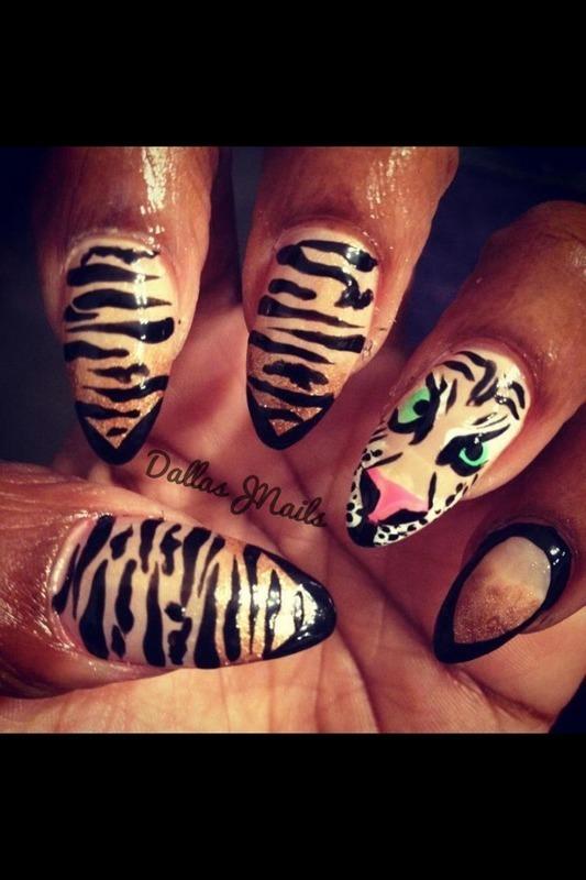 Tiger power nail art by Dallas