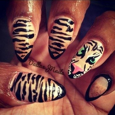 Tiger power nail art by Dallas