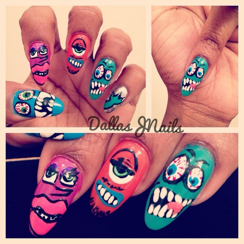 CB monsters nail art by Dallas