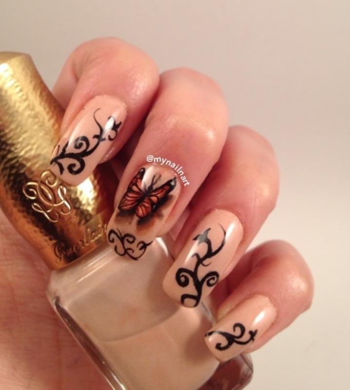 3D butterfly nail art by mynailnart