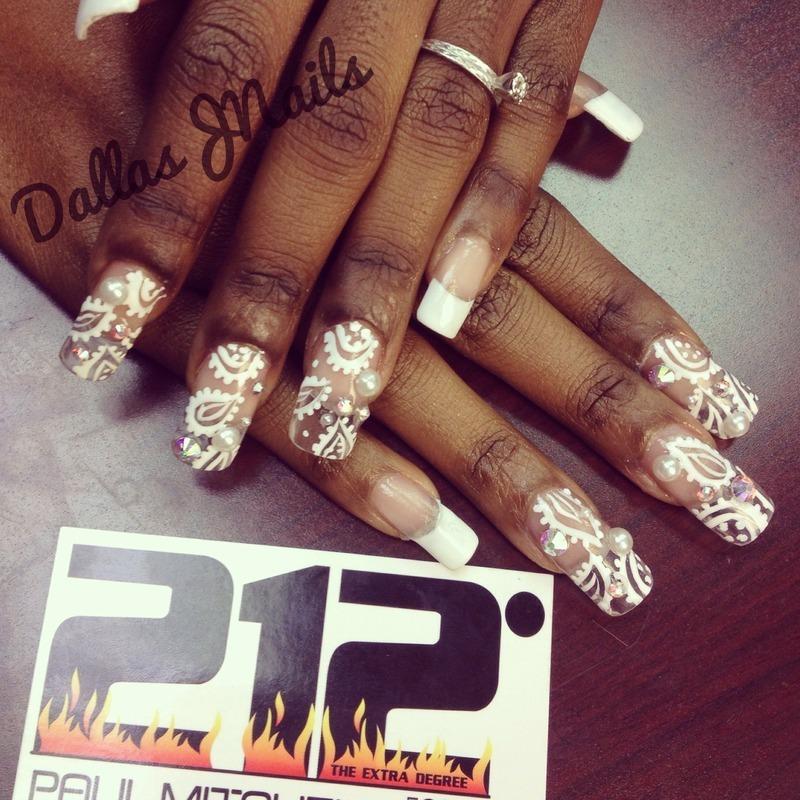 White paisley nail art by Dallas