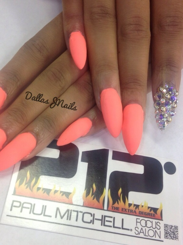 Matte coral nail art by Dallas