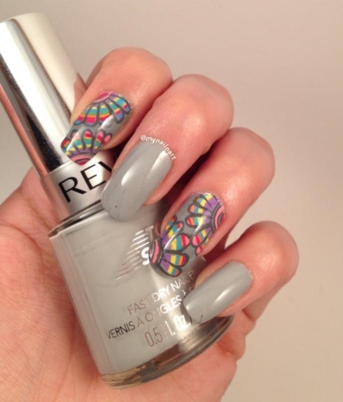 rainbow flowers nail art by mynailnart