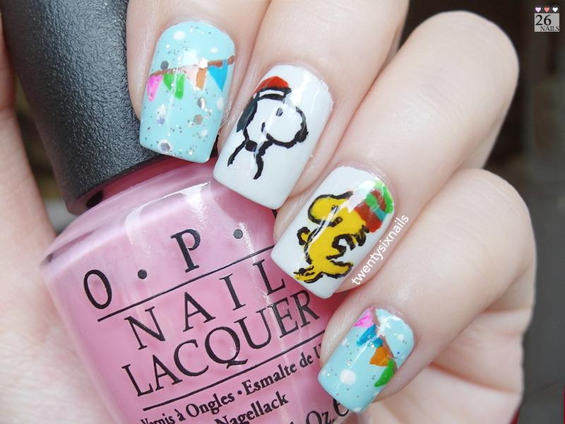 Snoopy and Woodstock Nail Art nail art by Kay Woo