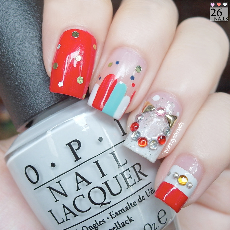 Christmas Nail Art- Wreath nail art by Kay Woo