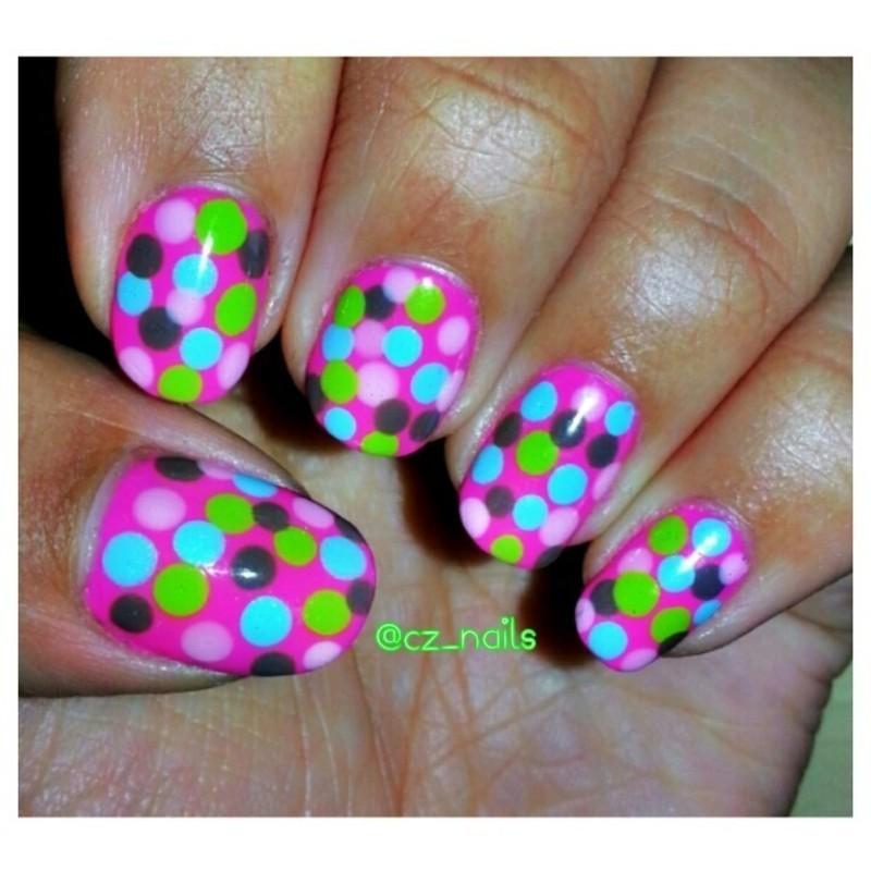 Polka dots! =)  nail art by Ciara