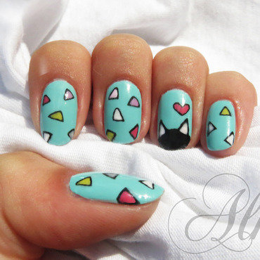 Triangular fun ❣ nail art by AliceLittleMadness