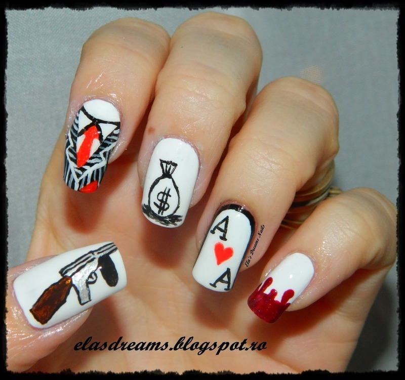 Gangster Nails Nail Art By Elas Dreams Nailpolis Museum Of Nail Art