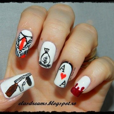 Gangster Nails nail art by Ela's Dreams