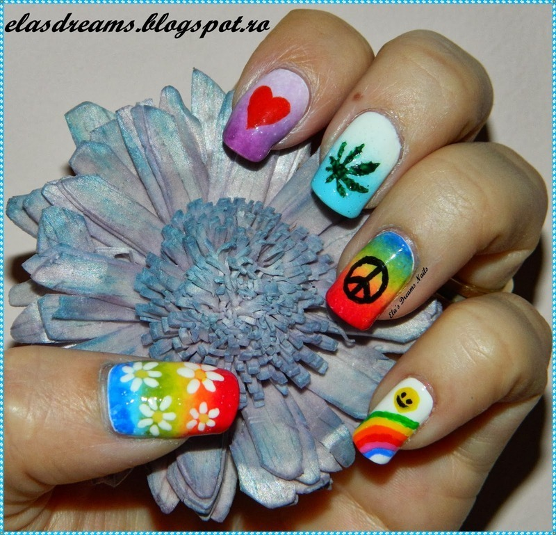 Hippie nails nail art by elas dreams nailpolis museum of nail art hippie nails nail art by elas dreams prinsesfo Gallery